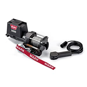 WARN 92000 Vehicle Mounted 2000 Series 12V DC Electric Utility Winch with Steel Cable: 1 Ton (2,000 lb) Pulling Capacity