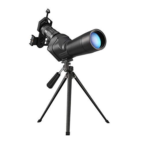 Dohiker Telescopio Terrestre 20-60x60 Telescopio Monocular Impermeable HD Spotting Scope con Trípode y Adaptador de Smartphone para Tiro al Blanco Caza Paisaje de Fauna Observación