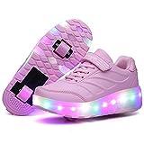 Calababa - Zapatillas de Patinar Unisex para niños, extraíbles, con Carga USB, para niños y niñas, Color Rosa, Talla 3