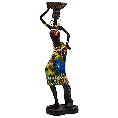 "Rockin Statue African Figurine Sculpture Colorfull Dress Standing Lady Figurine Statue Decor Collectible Art Piece 13"" Inches Tall - Flower Dress Tropical -Body Sculptures Decorative Black Figurines"