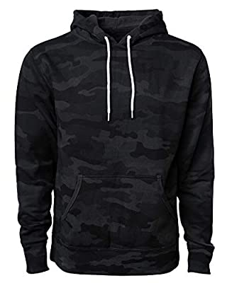 Global Blank Lightweight Hooded Fleece Pullover Sweatshirt Active Hoodies for Men & Women Black Camouflage