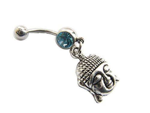 Buddha Belly Ring,Body Jewelry, 14g 14 Gauge, 316L Stainless Surgical Steel, Dangle Charm Navel Piercing