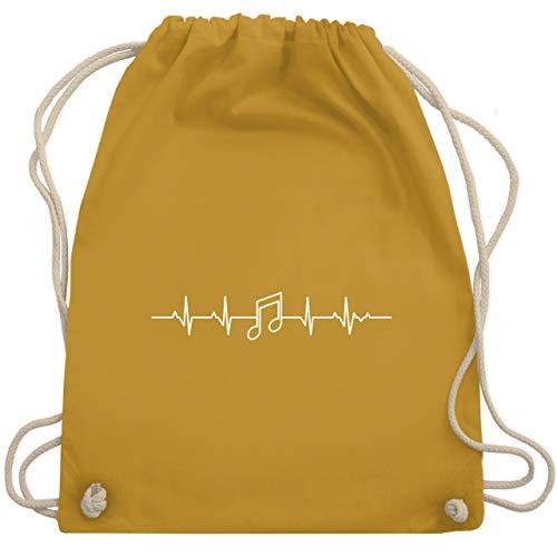 Shirtracer Symbole - Herzschlag Musik Note - Unisize - Senfgelb - festival gymbag - WM110 - Turnbeutel und Stoffbeutel aus Baumwolle