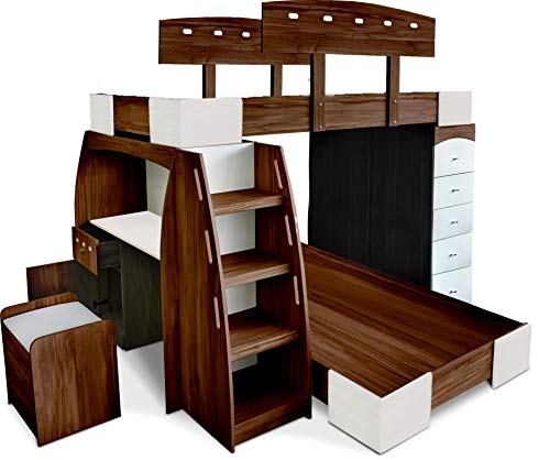 Muebles Troncoso Litera Kit Nogal Blanco con 7 Pzas