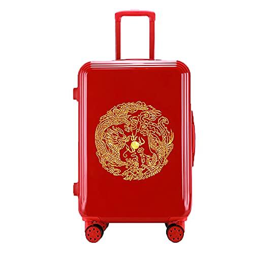 SGCDKSP Caja de contraseñas de Rueda Universal Maleta de Maleta de Hombre y Mujer Trolley Maleta Retro,Red 5,22 Inches