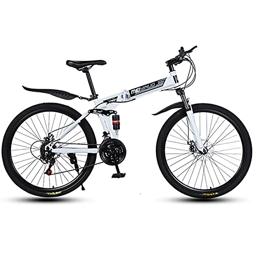 LIU 26 inch Mountain Bike Folding Bikes with dual shock absorbers and dual disc brakes, 21/24/27 Speed Bicycle Full Suspension MTB Bikes for Men or Women Unisex