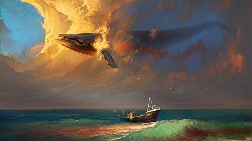 Puzzle 500 Piezas Adultos Puzzle De Madera 3D Puzzle Clásico Embarcaciones Y Ballenas En Las Nubes. Diy Educativo Puzzle Navidad Decoración Para El Hogar Regalo,52X38Cm