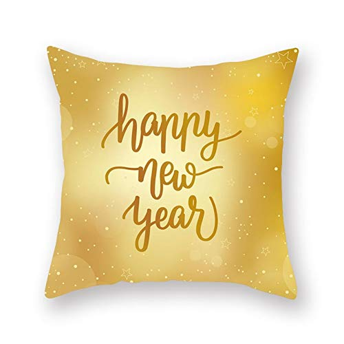 Jiaquhome Merry Christmas Pillow Case Decor for Home Golden Cushion Covers 2PC