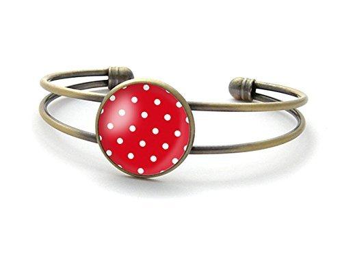 Pulsera de lunares, pulsera de cuadros rojos, brazalete de lunares blancos, pulsera de cabujón de cristal,