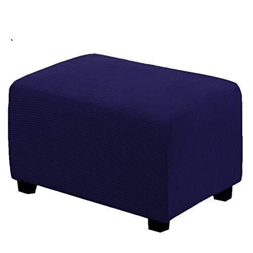 XYWML Funda Otomana Rectangular, Elástica Jacquard Protectora para Taburete Cubierta Puff Sofá Protector (Azul Marino,Large)