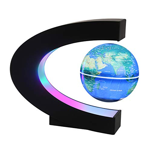 Magnetic Levitating Globe with LED Light, 3'' C Shape Base Floating Globes, Rotating World Map, Cool Tech Gift for Men Father Boys, Birthday Gifts for Kids, Desk Gadget Decor in Office Home (Blue 2)