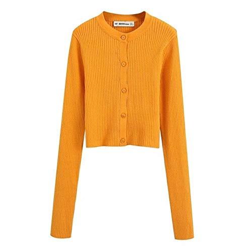 2020 NEU Frauen gestrickt Strickjacke orange solide O-Ausschnitt Langarm Kurzpullover Mode lässig sexy weibliche Frau Kleidung, orange, L.