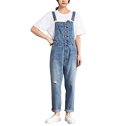 LAEMILIA Latzhose Damen Hose Latzhose Denim Jeansoptik Klasse Vintage Jeans Lang Lässig Baggy Boyfriend Stylisch Overall Jumpsuit (EU 48-50=Tag 5XL, Blau-99)