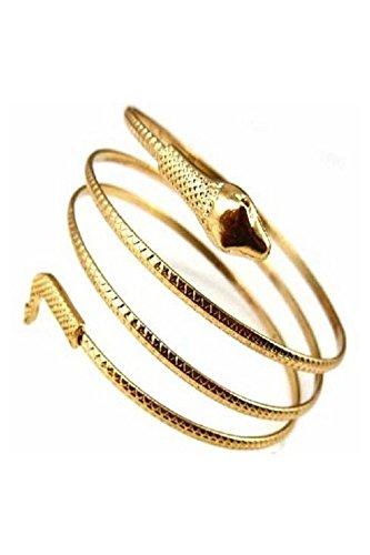 CUHAWUDBA Fashion gewickelt Schlange spiralfoermig Oberarm Stulpe Armband Armreif Silber