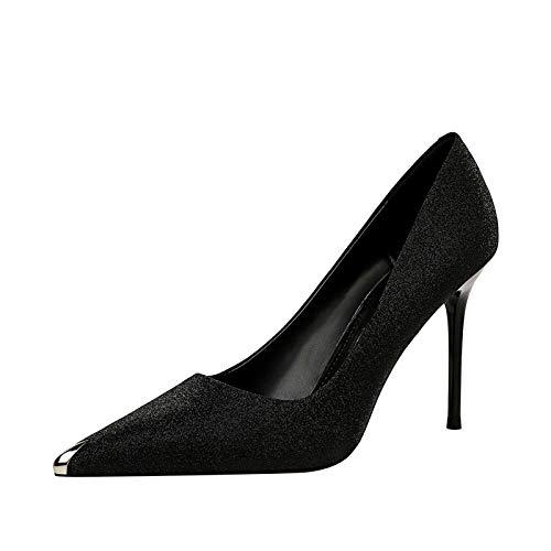 N&N - Zapatos de tacón alto para mujer con punta de metal y tacón alto, negro (Negro), 36.5 EU