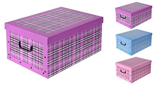 Spetebo 3er Set Aufbewahrungsbox in 3 Farben (Karo Motive) mit jeweils 45 Liter Inhalt - Aufbewahrungsbox