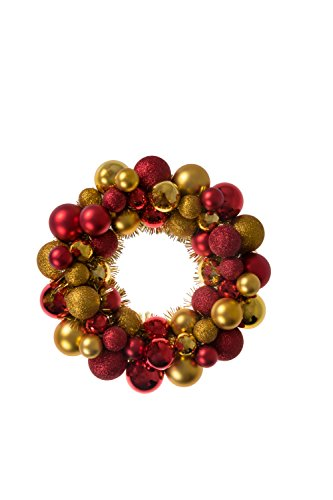 "Christmas Ornament Wreath by Clever Creations | Bright Red and Gold | Festive Holiday Décor | Classic Theme | Lightweight Shatter Resistant | Indoor or Outdoor | Countless Uses | 13.5"" x 13.5"" x 2.75"""