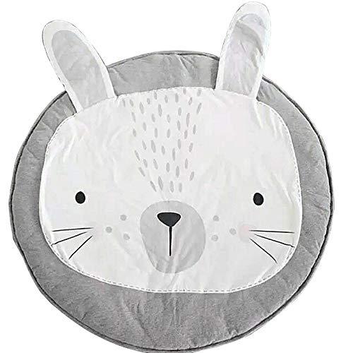 JYCRA Runder Teppich, Cartoon-Tier-Teppich, Baby-Baumwolle, Krabbelteppich, Spieldecke für Schlafzimmer, Wohnzimmer, Kinderzimmer Dekoration, Baumwolle, hase, Diameter 90CM