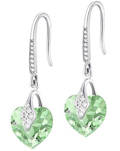 Crystals&Stones - 25 Farben Varianten - Haken Herz Ohrringe Silber 925 - Ohrringe mit Kristallen von Swarovski® - Schön Ohrringe Damen mit Gratis Schmuckbox (Peridot)