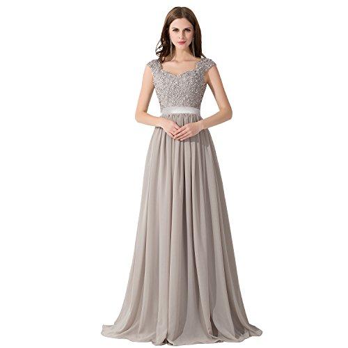 Damen Elegant Herzform Spitzen Trauzeugin kleid mit Stickerei Lang Silber 38