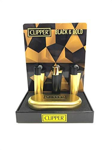 CLIPPER - Mechero de metal con funda, color negro y dorado