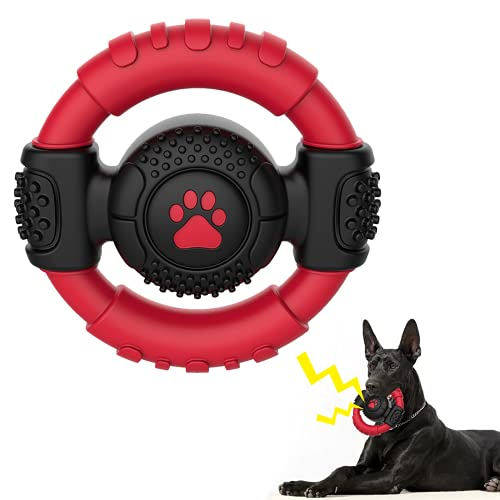 Tough Dog Toys for Aggressive Chewers Squeaky Dog Toys,Durable Rubber...