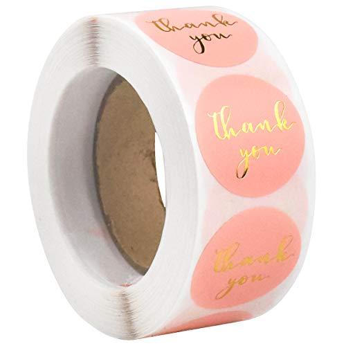 500 Stk Danke Aufkleber Thank You Sticker, Rund Danke Etiketten Handschrift Gold Folie, Selbstklebend Geschenkaufkleber für DIY, Versiegelung, Dekoration, Backen, Geschenktüten und Handarbeit, Rosa