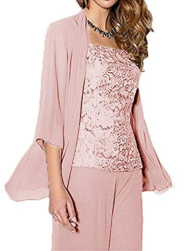 HIDRESS Women's Three Pieces Mother of The Bride Pant Suits Chiffon Outfit for Wedding BQ130 Pink Size 16