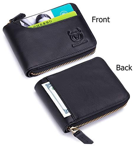 BULLCAPTAIN Zipper Men Wallet Leather Bifold Antimagnetic RFID Blocking Wallets Card Holder 2