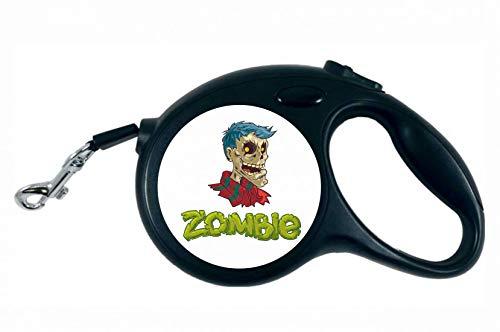Druckerlebnis24 Rollleine - Zombie Cartoon Halloween Skull - 5M Hundeleine Nylon Ergonomischem rutschfest-Griff Einziehbar