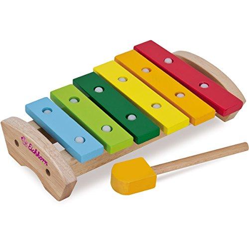 #1018 Xylophon aus Holz mit 6 farbigen Klangstäben und Schlägel, 24 x15 cm • Metallophon Kinder Musikinstrument Früherziehung Musik