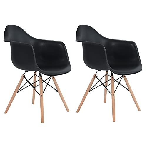 DORAFAIR Juego de 2 sillas de comedor retro con patas de madera de haya maciza, color negro