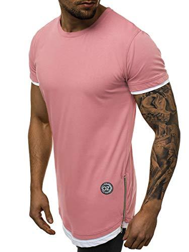 OZONEE Herren T-Shirt T Shirt Tshirt Kurzarm Kurzarmshirt Tee Top Sport Sportswear Rundhals U-Neck Rundhalsausschnitt Unifarbe Basic Einfarbig Motiv O/1261 Hellrosa XL