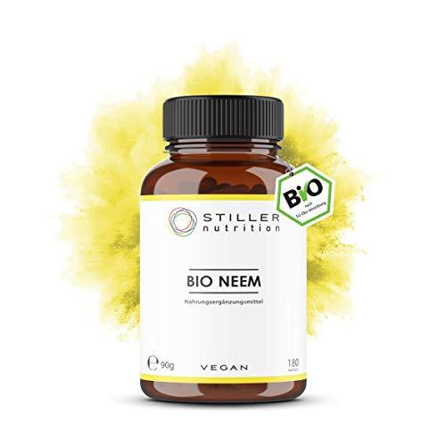STILLER nutrition® Premium Bio NEEM 500mg Kapseln - 180 Kapseln - Hochdosiert - Azadirachta Indica - Neembaum - Niembaum – Ayurveda Nahrungsergänzung - Bio-Qualität - Kontrolliert in Deutschland