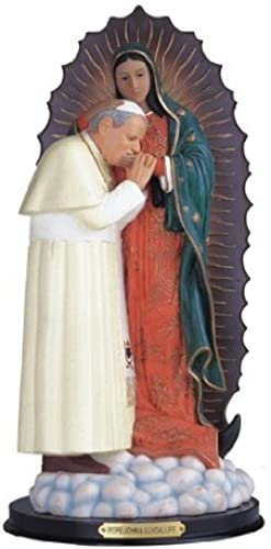12 Inch Our Lady of Guadalupe w  Pope John Paul 2 Virgen de Statue Figurine by GC