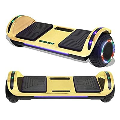 """TPS 6.5"""" Hoverboard Electric Self Balancing Scooter with Wireless Speaker and LED Lights for Kids and Adults - UL2272 Safety Certified (Chrome Gold)"""