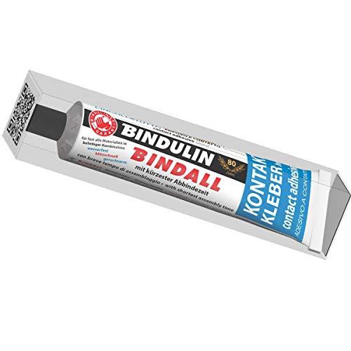 Bindulin Kontaktkleber BINDALL 160 Gramm Neoprenkleber, geruchsarm wasserfest Neopren Holz Glas Leder Keramik Filz Gummi Plexidur +70°C temperaturbeständig - Reparatur Tube 160 g