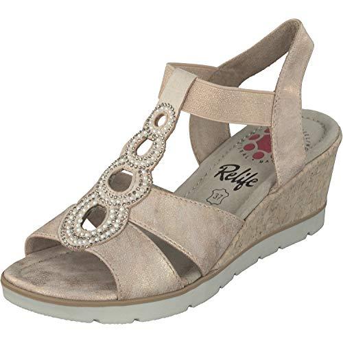 Relife Damen Schuhe Sandalen Espandrille 9717-19703-01 in 2 Farben (39 EU, Rosa)