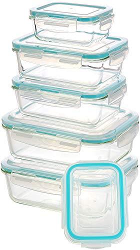 KICHLY Glas-Frischhaltedosen 12 Stück [6 Behälter + 6 Deckel] - Glasbehälter - Transparente Deckel - BPA frei - für Home Küche oder Restaurant