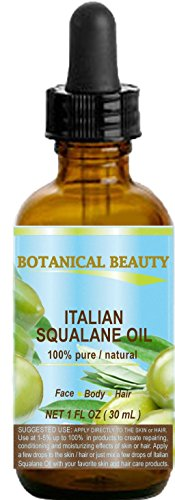 SQUALANE Italian. 100% Pure/Natural/Undiluted Oil. 100% Ultra-Pure Moisturizer for Face, Body & Hair. Reliable 24/7 skincare protection. 1 fl.oz- 30 ml. by Botanical Beauty.