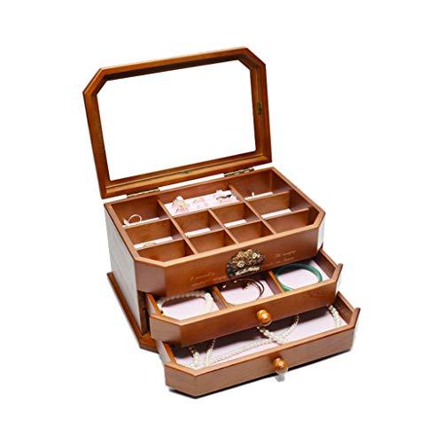Cajas de joyería de madera maciza caja organizadora de joyas – para mujer, 3 capas, caja de exhibición de joyería, soporte de joyería para pendientes, anillo, collar, pulsera y cofres de joyería