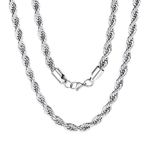 ChainsPro Verdrehte Kette 6mm Halskette für Anhänger Damen/Herren Edelstahl Silber Kette 45cm-70cm Ketten für Männer