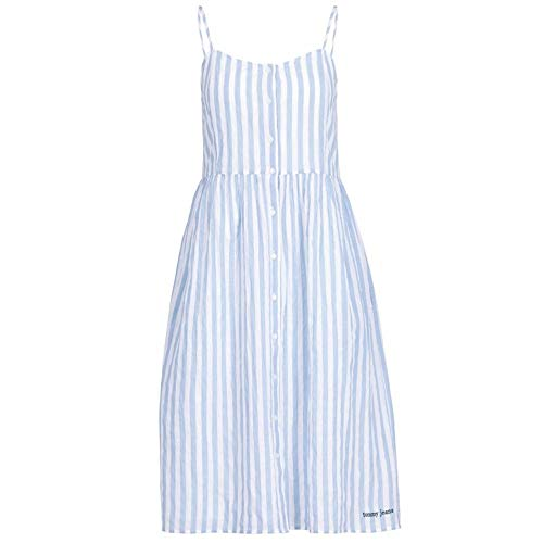 Tommy Jeans Damen TJW Summer Stripe Strap Dress Kleid, Blau (Serenity/Classic White 400), X-Small (Herstellergröße: XS)