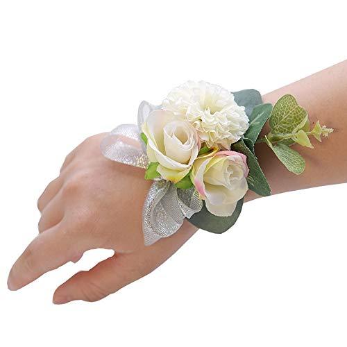 Pulsera de boda hecha a mano con flores artificiales, ramillete de dama de honor, flores de mano, flores de muñeca, para boda, fiesta, decoración de flores de muñeca (color: flor de muñeca G).