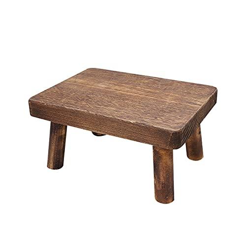 LNIM Taburete de madera, taburete para niños y adultos, resistente y suave superficie de baño, taburete para camas altas, cocina, baño, armario, ligero