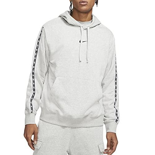 NIKE M NSW Repeat FLC PO Hoodie BB Sweatshirt, dk Grey Heather/Black, S Mens