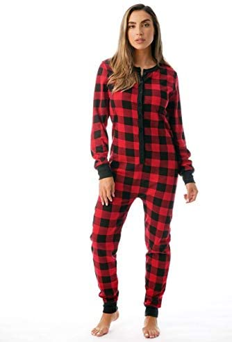 followme Women s Printed Henley Thermal Onesie 6744 10195 RED S product image