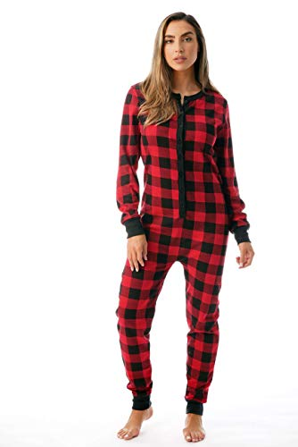#followme Women's Printed Henley Thermal Onesie 6744-10195-RED-XS