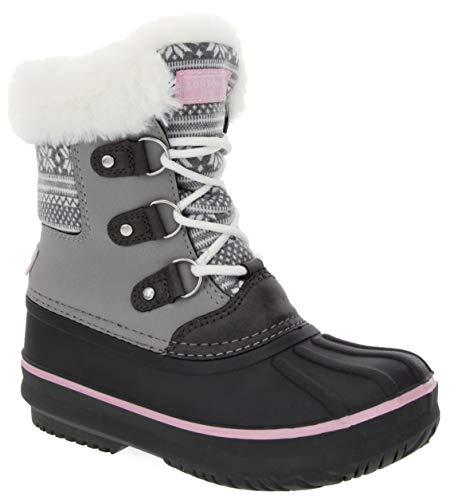 LONDON FOG Girls Tottenham Cold Weather Snow Boot Grey Felt/Pink Size 1