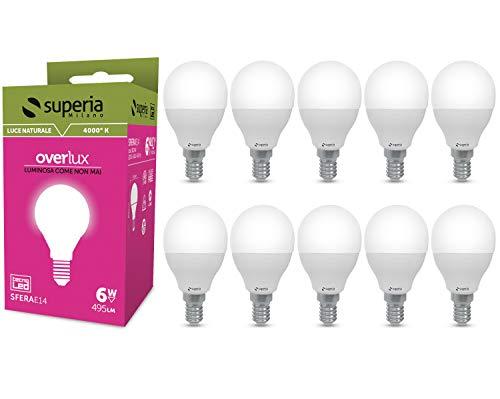 Superia Lampadina LED E14 Sfera, 6W (Equivalenti 40W), Luce Naturale 4000K, 495 lumen, SE14N, Pacco da 10
